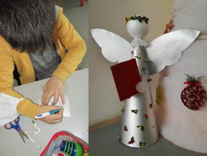 Imagem do Anjo e de um aluno a fazer um dos moldes durante a sua elaboração.