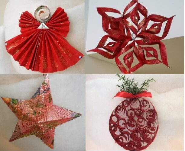 Conjunto de enfeites em cor vermelha, representativos de uma das cores desta época festiva.