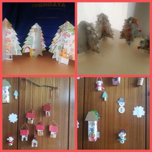 Pinheiros, mobile de casinhas e casas decorativas da entrada. (pré-escolar e 1º ciclo)