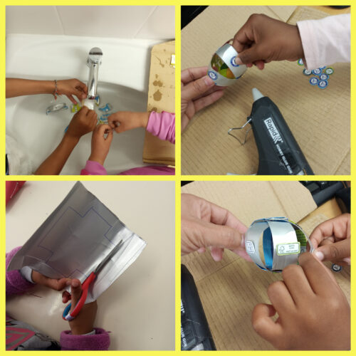 Preparação de alguns materiais e colagem de símbolos Tetra Pak e FSC em bolas de Natal. (pré-escolar e 1º ciclo)