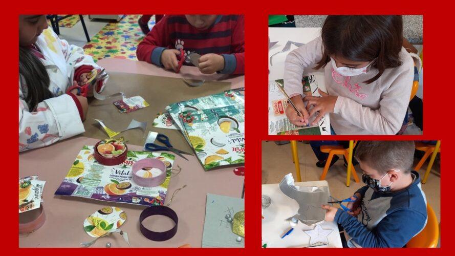 Construção de enfeites pelos alunos da Educação Pré-Escolar e do 1º Ciclo usando embalagens da Compal Tetra Pak.