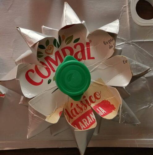 Estrela/Flor de Natal.<br/>Material utilizado: embalagens de sumo da marca Compal.