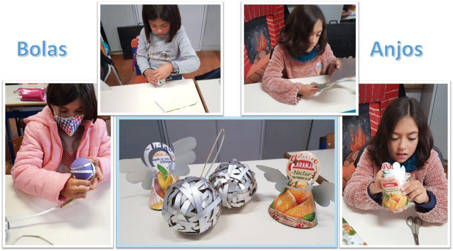 Bolas e anjos da Compal: Bolas com tiras entrançadas e anjos com recorte e montagem; ambos a partir de embalagens da Compal e de leite.