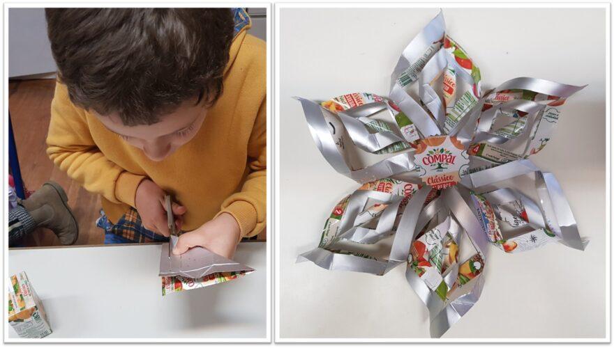 Estrela de Natal: a partir de 6 quadrados recortados de embalagens pequenas da Compal que se enrolam, montam e juntam.