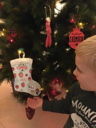 A bota a enfeitar o pinheiro de Natal