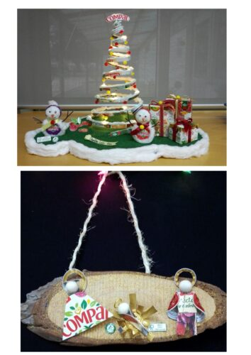 Pormenor do presépio e da árvore de Natal.