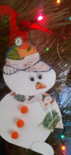 Boneco de Neve com pompom tetrapack