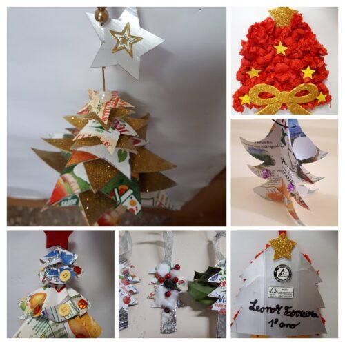 Árvores Natalícias<br/>Este conjunto de enfeites recorreu a diferentes materiais que lhes emprestou uns bonitos efeitos.