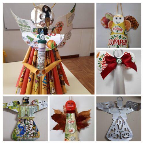 Anjos de Natal<br/>Enfeites elaborados em contexto familiar e tendo por base as embalagens Compal.
