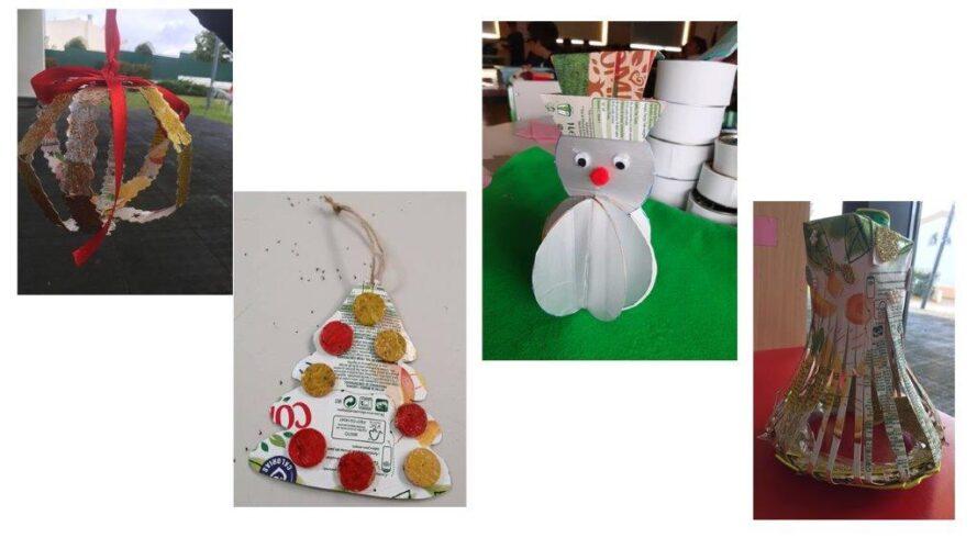 Enfeites com formas variadas: bola, pinheiro, boneco de neve e sino.