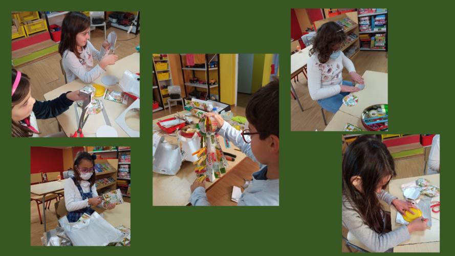 Fase de montagem dos enfeites projetados e planeados com recurso às embalagens Tetra Pak da Compal recolhidas junto das famílias