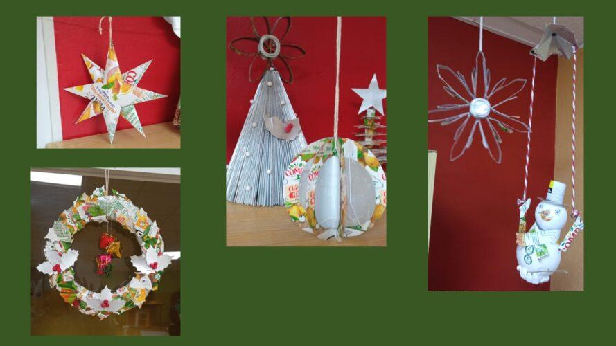 Os enfeites realizados representam símbolos natalícios, usualmente utilizados para decorar a Árvore de Natal e as casas