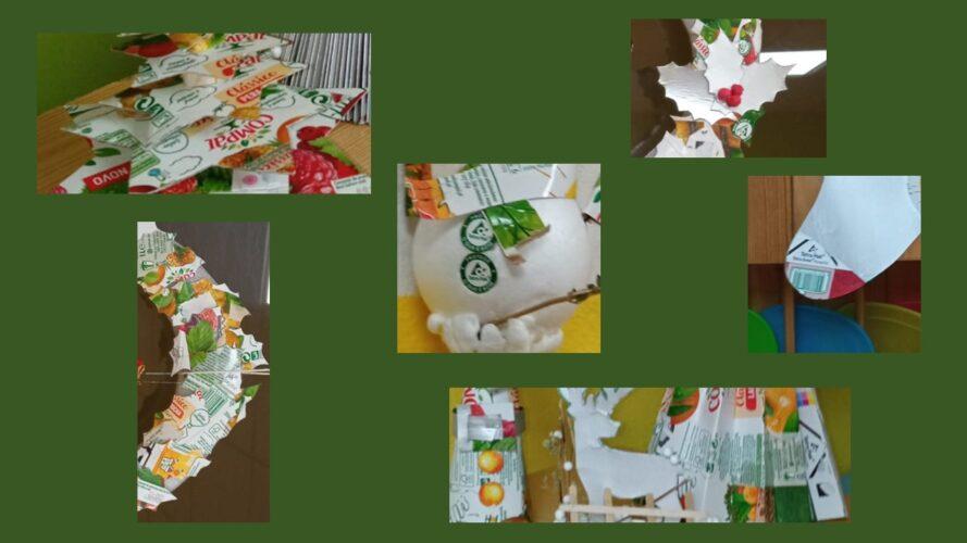 Destaque em todos os enfeites, da utilização de embalagens da Tetra Pak da marca Compal e o símbolo FSC®