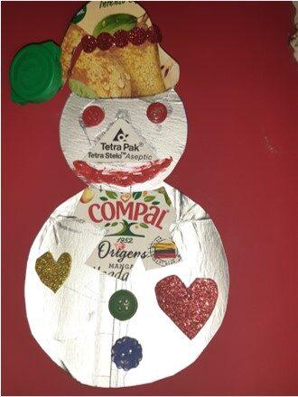 Boneco de Neve realizado pela família do Lourenço M.