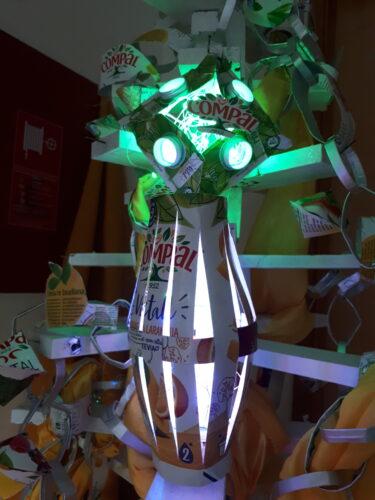 Recortes verticais da embalagem, lanterna