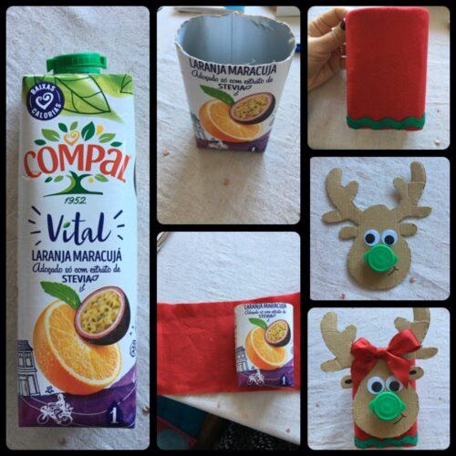 Rena do Pai Natal - Compal vital maracujá, utilizando como complemento cartão, a tampa da embalagem Compal, tecido vermelho, fita de cetim verde, cola e tesoura.