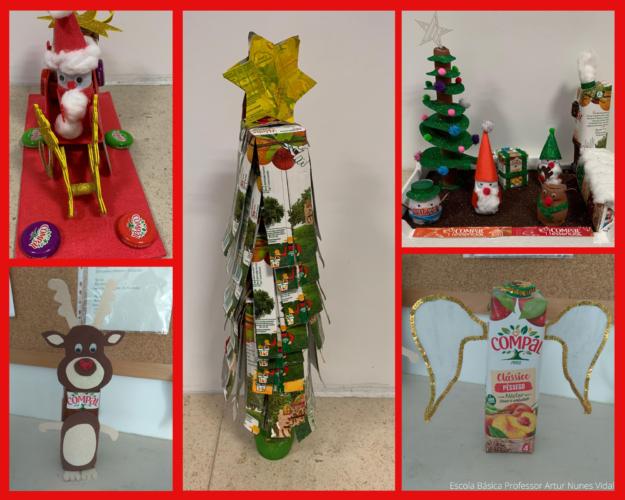 Podemos observar vários enfeites: Trenó ecológico; Rena; Árvore de Natal CCC (Com Compal Consigo!); A casa do Pai Natal; Anjo Compálico...para um natal saboroso e abençoado!