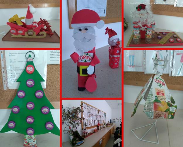 Podemos observar vários enfeites: Trenó do Pai Natal; Árvore de Natal... as tampas dão cor ao Natal!; Pai Natal e o seu ajudante; Árvore de Natal do futuro.