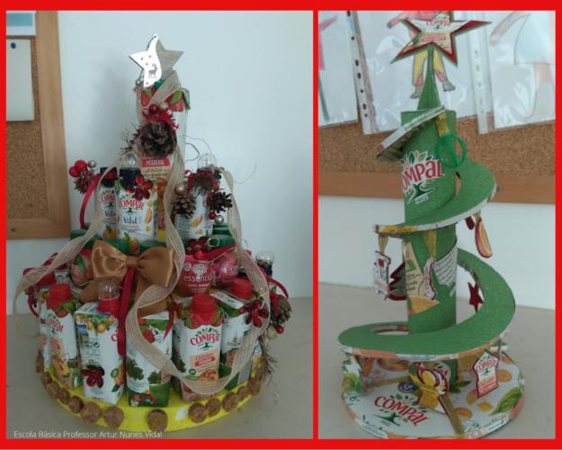 Podemos observar duas árvores de Natal: <br/>Imagem da esquerda: Árvore de Natal Compal<br/>Imagem da direita: Espiral Compal...uma Árvore especial!