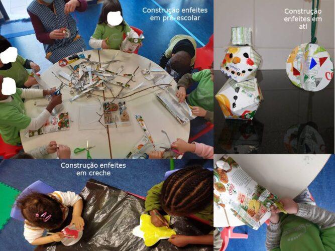 Construção dos enfeites com as crianças