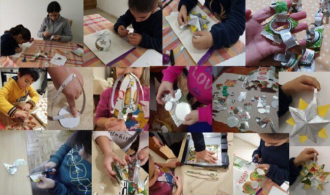 Com a colaboração dos pais, os alunos construíram diversos enfeites para colocar numa árvore de Natal muito especial!