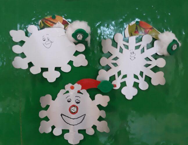 FLOCOS DE NEVE<br/>Recorte das embalagens usando 3 moldes diferentes de flocos de neve.