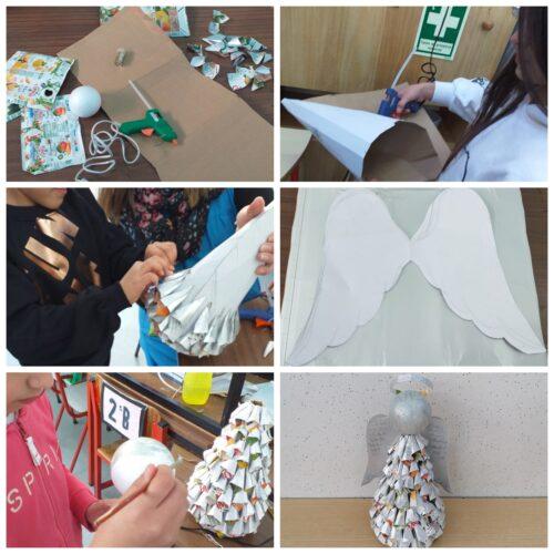 Anjo - material embalagens Compal enroladas em forma de cone, cola quente, cordão, bola de esferovite, fita, purpurinas