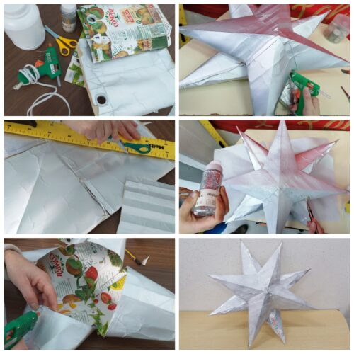 Estrela - material pacotes de sumo Compal dobragem, purpurinas