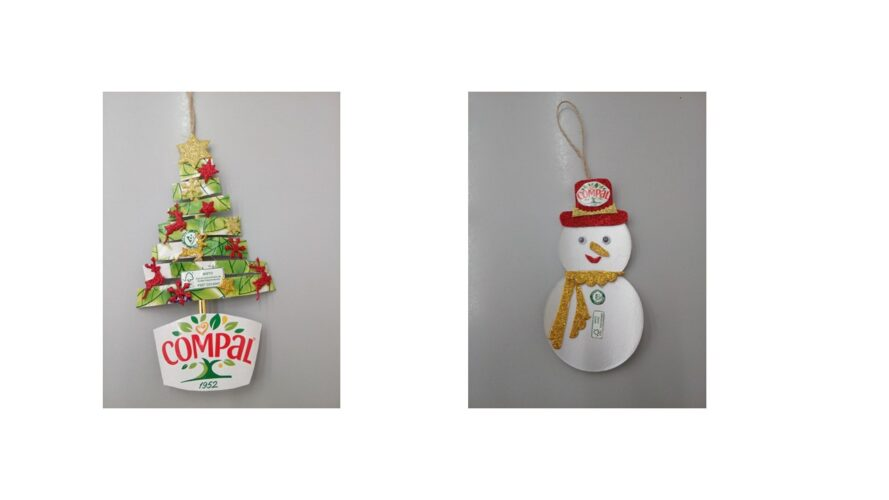 Árvore e Boneco de neve, com vários materiais adereçados, com recorte e colagens, com destaque para logótipos que revelam a qualidade das embalagens