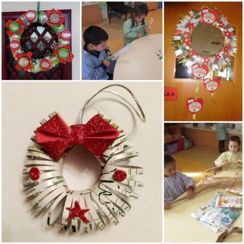 Coroas de Natal - sempre a reciclar! Não nos esquecemos de as portas decorar...