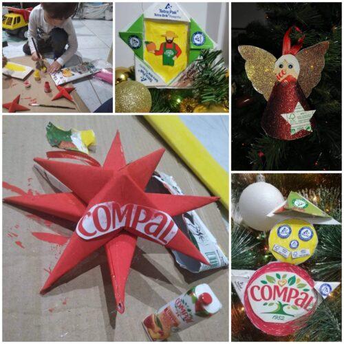 Enfeites de Natal ... com arte, compal e tetra pack