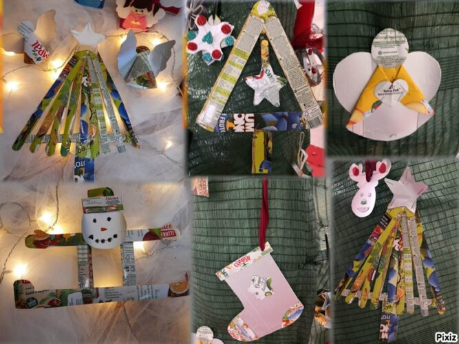Alguns dos enfeites da nossa árvore, desde árvores, bonecos de neve, anjo e bota de natal