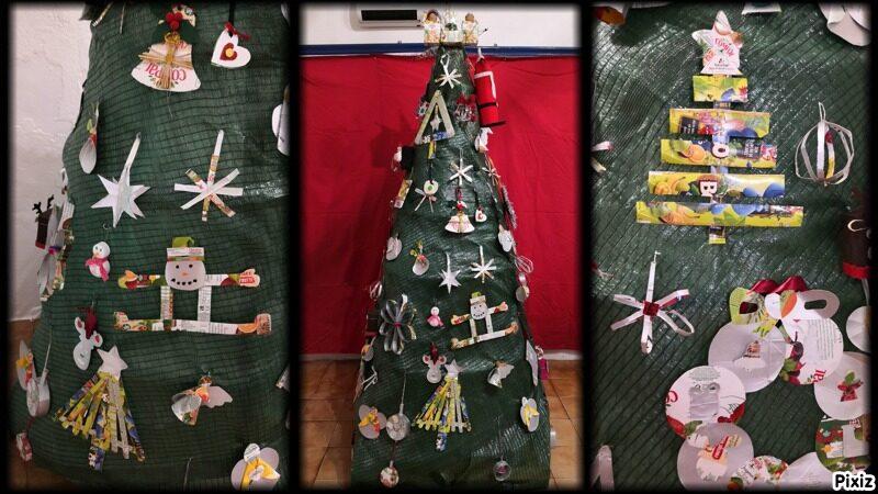 Árvore de Natal com alguns pormenores dos enfeites