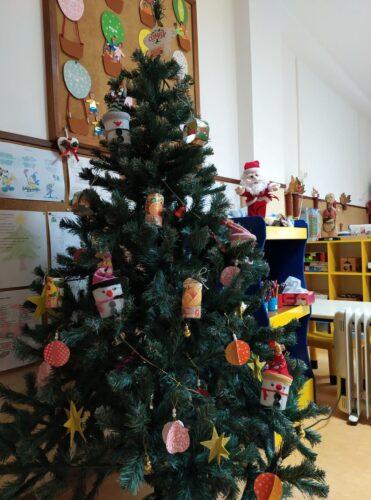 do que fez para a árvore de Natal da sala de aulas