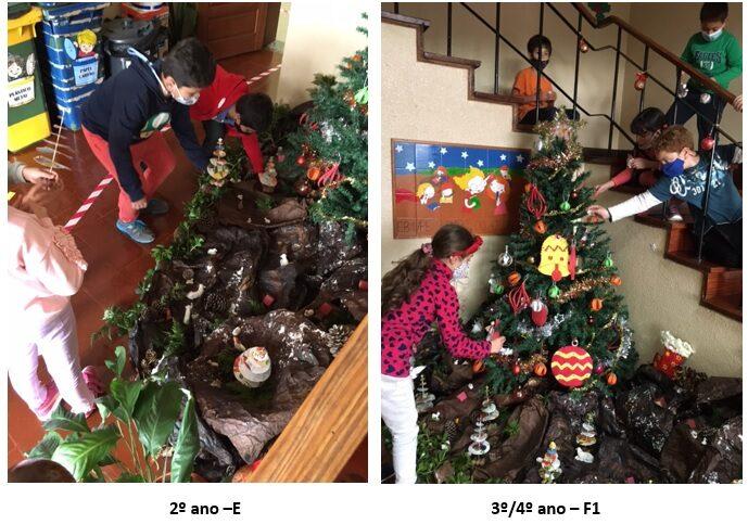 Decoração da árvore de natal com os trabalhos realizados pelos alunos do 1º Ciclo da EB1/PE da Calheta - Lombo do Atouguia.