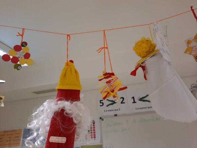 Vários elementos: Árvore de Natal, estrela de Natal 1, Pai Natal 1, Boneco de Neve, Fitinha de círculos, bola de natal