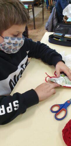 A preparação para o enchimento com papel